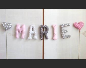 Prénom guirlande  *MARIE*lettres en tissus