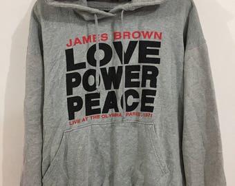 Stussy James Brown Love Power Peace Hoodie XL