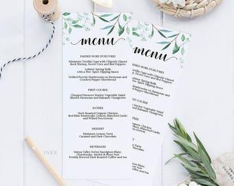 Greenery Printable Wedding Menu Template, Menu Cards,Menu Template, Editable Menu, Rustic Wedding, Editable PDF Instant Download #E031