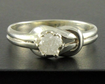 14K Gold Infinity Ring with Groves - Love Knot Ring With White Raw Diamond - Natural Rough Diamond Ring - April Birthstone