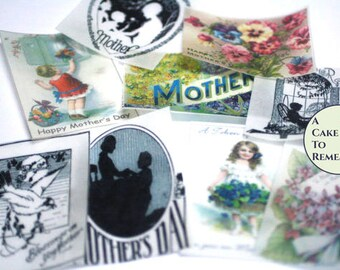 12  vintage Mother's Day edible wafer paper images for cookie decorating. Printed wafer paper, Mother's Day cookies, Mother's Day gift
