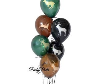 buck balloons, deer hunting, Next Camo party decorations, hunters, boys graduation ideas, 6CT, 12 inch latex balloons, outdoors, woodland
