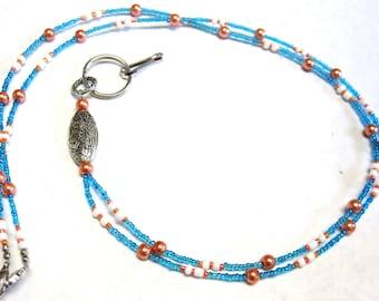 Blue White Orange Peach Lanyard Badge Holder ID Holder