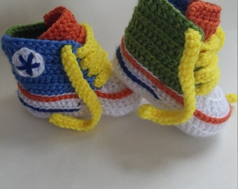 Crochet colorful Converse shoes/booties