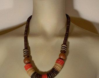 Vintage Chunky Necklace * U3423 1980's 80's Ethnic Tribal Jewelry