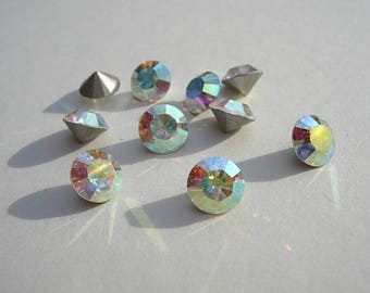Set of 10 8 mm SS39 Swarovski, Crystal AB color Crystal rhinestones