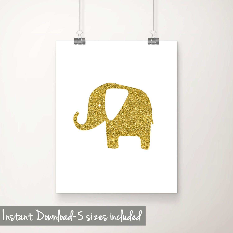 Gold Elephant Printable Art Glitter Elephant Print Elephant