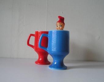 Milk Glass Red and Blue Pedestal Mugs