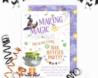 Witch Halloween Invitations / Witch Invitations / Halloween Party Invitations
