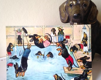 New Dachshund Design! The Swimming Pool - Fun Vintage Repro Card