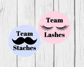Gender Reveal Stickers Baby Boy Baby Girl Team Lashes Team Staches Gender Party - Set of 24