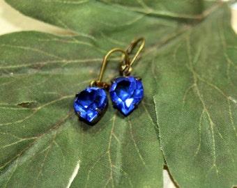 Sweet Little Love Bites Hearts in Old World Blue Dangle Earrings Petite