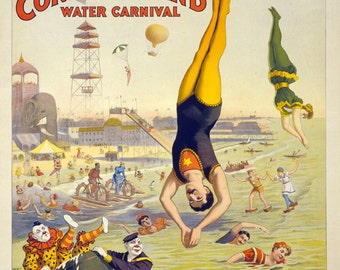 "Vintage Circus Poster ""The Great Coney Island"" Vintage Americana Carnival Print - Moustache Man Acrobat - Victorian Carnival"