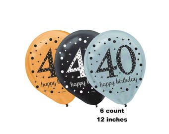 40th birthday balloons, forty, 40, fortieth, happy birthday, gold, silver, black, latex, party decorations, supplies, decor, DIY, ideas, RTS