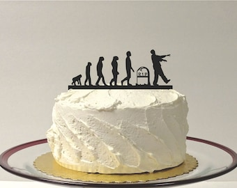 MADE In USA, Evolution Of the Zombie Cake Topper Zombie Apocalypse Wedding Cake Topper Birthday Cake Topper Halloween Cake Topper Silhouette
