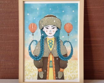 Print illustration poster A - 4, the girl with braids