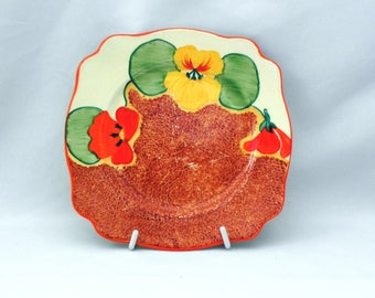 Early *Bizarre* CLARICE CLIFF *NASTURTIUM* Leda Plate   c1933 - Lovely
