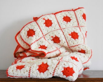 Vintage Hand Knitted Crochet Wool Blanket - White & Red Squares With Polka Dots - Afghan Throw - Baby Blanket - Extra Soft - 54'' x 42''