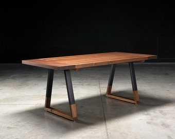 Solid Walnut Dining Table, Griswold Dining Table, industrial dining table