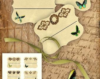 Victorian Birdwings Bookplates/Labels Printable Stationary Crafts Scrapbooking Butterflies Original photographs Instant download