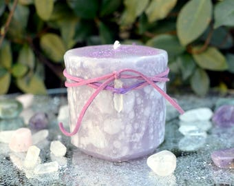 Enchanted Flame Candle, Sparkling Candle, Large Candle, Purple Candle, Candle Magic, Fairy Candle, Fairy Magic, Pillar Candle, Floral Candle