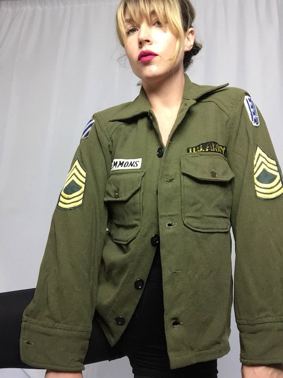 Vintage Authentic Green Army Jacket EwrVgmm8al