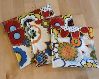 Red floral reusable snack bags