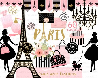 Paris Clip Art / Paris Theme Clip Art / Eiffel Tower Clip Art / Fashion Clip Art - CA064