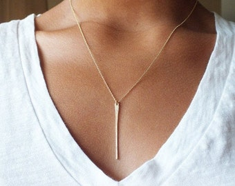 Layering Necklace - Long Gold Filled Bar Necklace - Gold Tapered Bar Necklace - Gold Filled Necklace - Delicate Gold Necklace