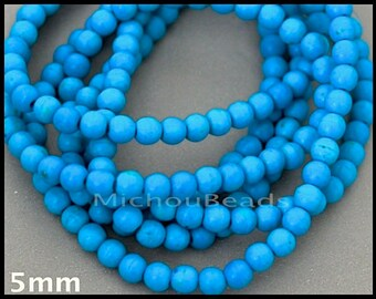 SAMPLE 5 Beads 5mm Chalk TURQUOISE - B Grade Round Smooth Dark Blue Turquoise Natural Gemstone - Usa Wholesale Beads - Instant Ship - 6969