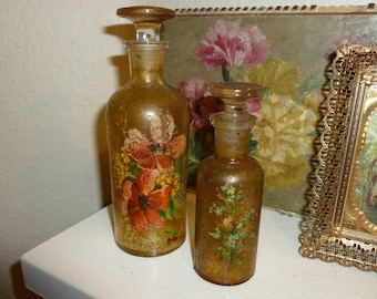 Vintage Bath Oil Bottles / Perfume Bottles With Floral Accents And Glass Stoppers 1930's-1950's