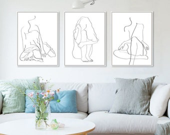 Woman Sketch Set of 3 Prints Line Art Female Art Figure Drawing Downloadable Bedroom Art Minimalist Poster Silhouette Art Body Print 18x24