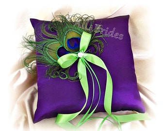 Peacock wedding pillow, purple and lime green ring bearer pillow.  Peacock feathers.