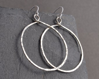 Hoop Earrings, hammered, large, sterling silver, free shipping
