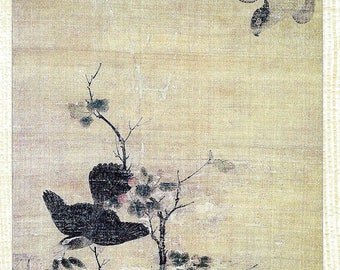 Hawk Pursues a Thrush by Wang Yuan Book Page to Frame or to use in Paper Arts, Collage, Scrapbooking, Mixed Media and MORE PSS 3223