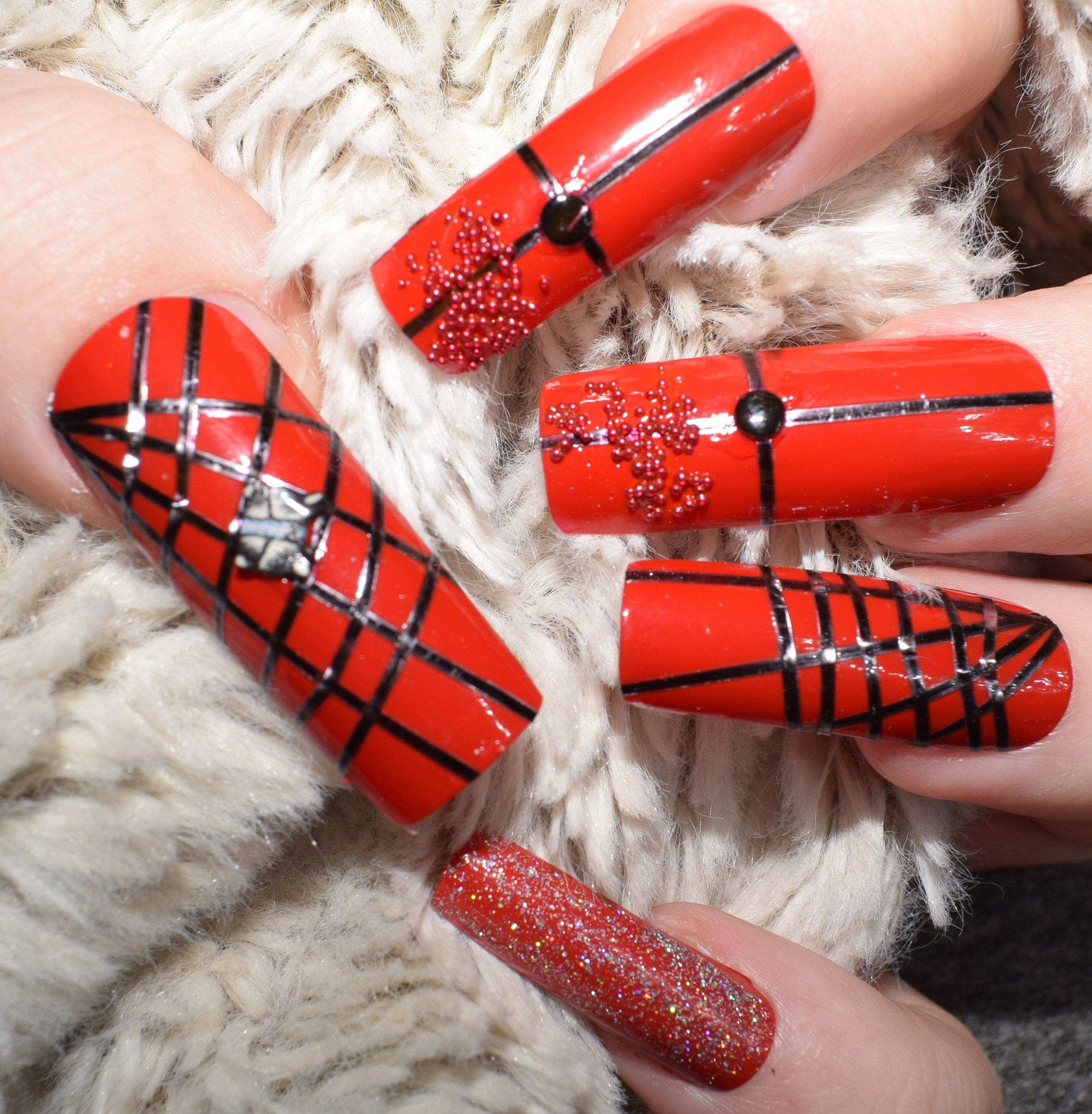 Red Black Fake Nails, Extra Long False Nails, Hand Painted Press On ...