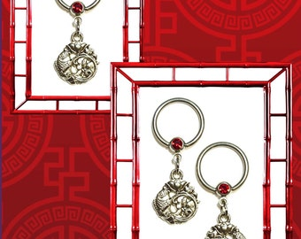 Single or Pair Silver Chinese Koi Charm With Red Rhinestone 14G Nipple Ring Body Jewelry