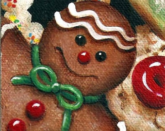 ACEO Gingergread Man  Original Acrylic Painting