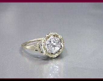 Vintage Diamond Engagement Ring Art Deco Diamond Engagement Ring with Old European Cut Diamond 14K Yellow Gold Wedding Ring - ER 614M