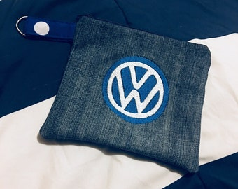 VW Logo Zipper Pouch coin purse make up bag