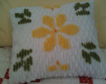 Pillow made from Vintage Chenille bedspread