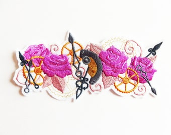 Applique badge patch fusible steampunk pink embroidery