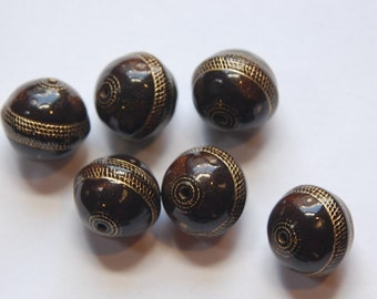 Vintage Style Dark Brown with Gold Etching 16mm Beads bds787H