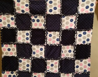 Flannel and minky rag blanket