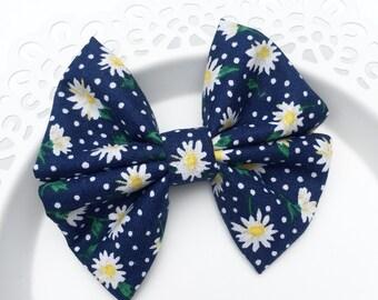 Fabric Bow, Baby Headband, Navy Daisy Bow, Floral Bow, Bow Headband