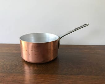 French Copper Saucepan, 1/2 Quart Tournus Copper Pot, Vintage Copper Kitchenware, Copper Cookware, French Country Kitchen, Made in France