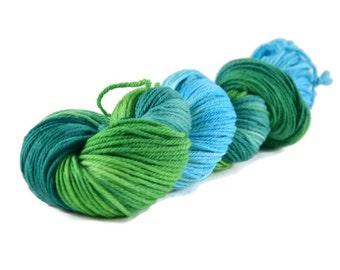 Worsted Yarn, Superwash Merino yarn, worsted weight yarn, worsted wool yarn, 100% Superwash Merino, blue, green, multi-colored - Jungle