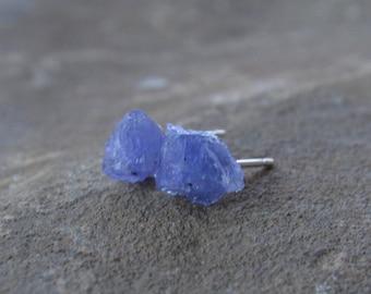 Raw Tanzanite Stud Earrings December Birthstone