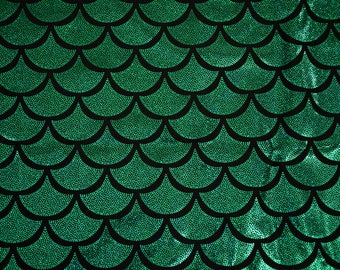 Green Dragon Scale Spandex Fabric Holographic Mermaid Glistening Shimmery Shiny Sparkly Lizard Reptile Fish Amphibian Turtle (By the Yard)