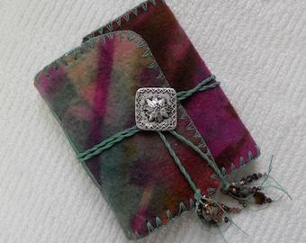 E602 Abundance and Joy Journal - Resist Dyed, Handmade Felt Journal